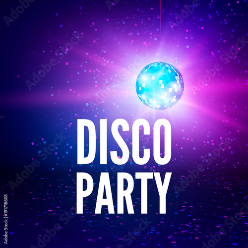 Disco party poster background  Night club disco ball