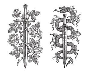 Рисунок тушью, два средневековых клинка на белом фоне, символические изображения. Меч увитый розами. Кинжал и змея.