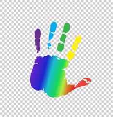 multicolored silhouette of human handprint on transparent