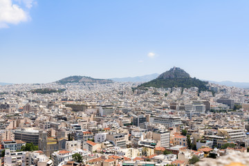 panoramic view on Lycabettus Hill from the Acropolis , Greek capitol Athens