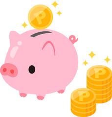 ブタの貯金箱とポイントのイメージ
