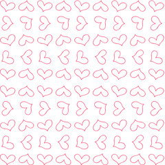 retro cute seamless pattern with red outline  hearts on white