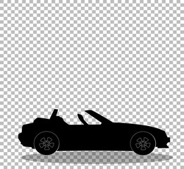 Black silhouette of modern opened cartoon cabriolet car