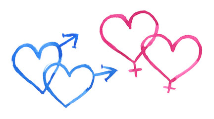 Set of two heart shaped gay and lesbian union symbols painted in watercolor on clean white background