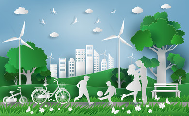 Family enjoy fresh air in the park, eco green city, save the planet and energy concept, flat-style vector illustration.