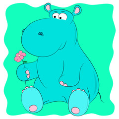 hippo with a flower cartoon
