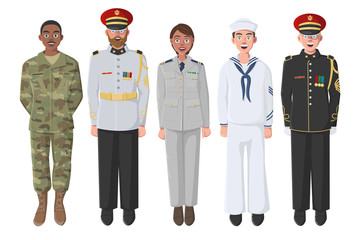 Five American Soldiers in Uniform