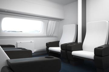 Contemporary luxury train interior