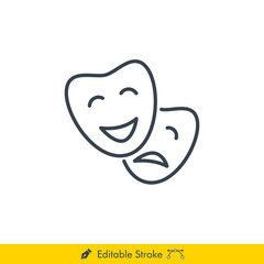 Comedy & Drama Icon / Vector - In Line / Stroke Design