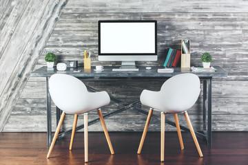 Contemporary interior with empty white computer