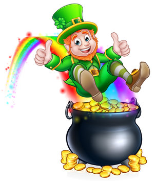 St Patricks Day Leprechaun Pot of Gold Rainbow