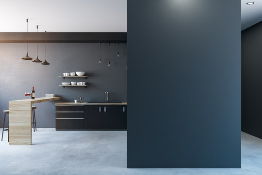 Modern kitchen with copy space