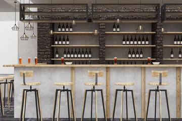 Loft bar/pub with empty poster