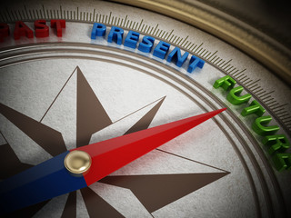 Compass needle pointing future. 3D illustration