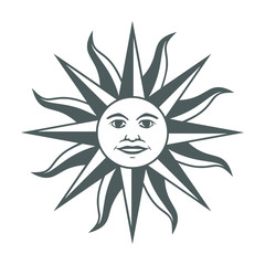 Icon the Inca sun God. Inti sun of may. Sign on Uruguayan flag. Isolated symbol on white background. Abstract vector illustration