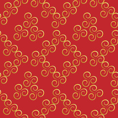 Spiral gold on a red background. Seamless pattern. Abstract texture. For background, fabric, wallpaper.
