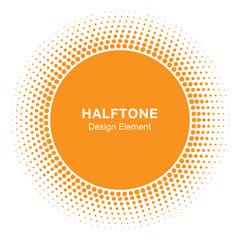 Wall Mural - Sunny Circle Halftone Logo Design Element. Sun vector icon. Sun halftone emblem for health, treatment, medical, cosmetic, pharm. Honey sun logo vector illustration