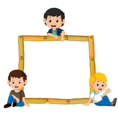 kids on the wood frame with roots and leaf