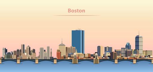 Fototapete - vector abstract illustration of Boston city skyline at sunrise