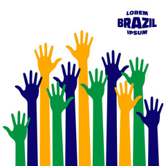Colorful up hands icon using Brazil flag colors. Vector illustration