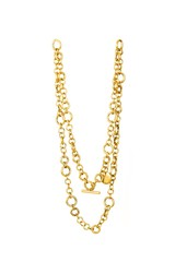 Golden necklace isolated on a white background
