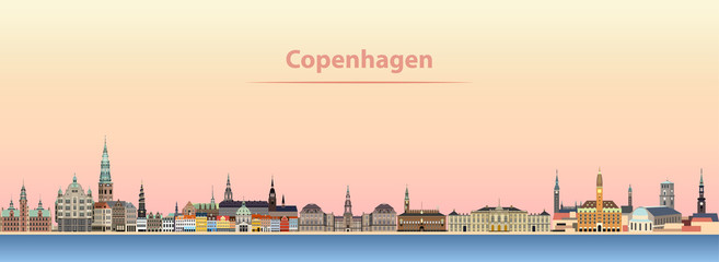 abstract vector illustration of Copenhagen city skyline at sunrise