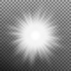 White burst glowing light explosion. Transparent background only in EPS 10