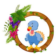 turkey bird on round wood frame