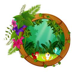 three bird on round wood frame with forest scene
