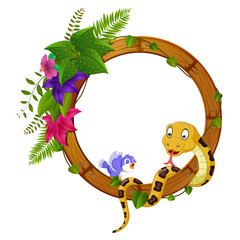 snake and bird on round wood frame with flower