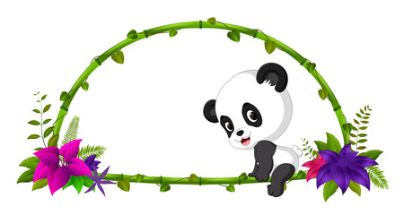 frame of bamboo and baby panda