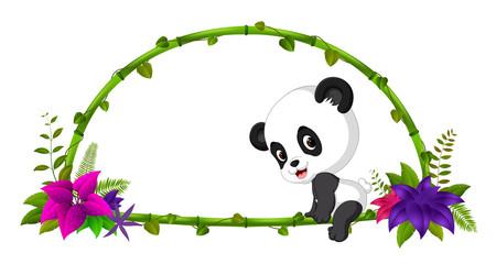 frame of bamboo and baby panda