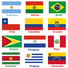 Flags of the 12 independent countries of South America in alphabetical order