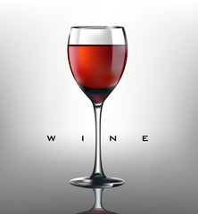 Realistic wineglass with red wine, realistic macro photography, wineglass with red wine on white backgrownd
