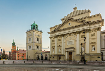 Saint Anne church on the castle square in Warsaw, Poland Wall mural