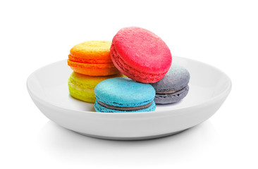 Door stickers Macarons macarons in plate on white background