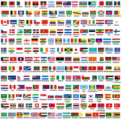 vector set of all world countries (sovereign states) flags, arranged in alphabetical order