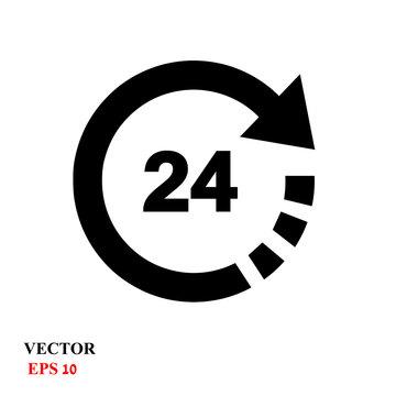 Open 24 hours vector icon
