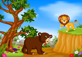 bear and lion with mountain cliff scene