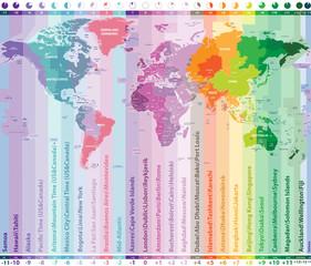 Foto op Plexiglas Wereldkaart world time zones vector map with countries names and borders