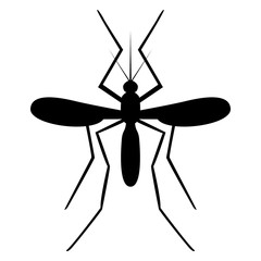Vector image of a mosquito silhouette on a white background