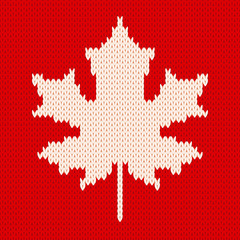 Maple leaf on red - Seamless knitting pattern