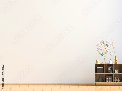 Poster mockup in modern interior with lamps d rendering stock