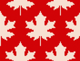 Maple leaves on red - Seamless knitting pattern