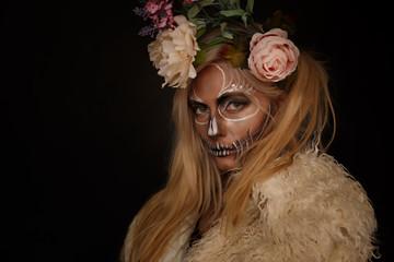 Goth Dresed girl posing in studio