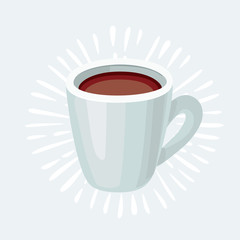 Flat Icon Cup of tea. Isolated on blue background with long shadow. Modern vector illustration for web and mobile.