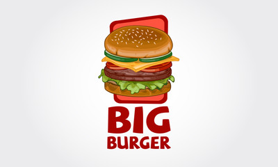 Vector illustration of burger shop icon logo design. Burger menu for American fast food cafe.