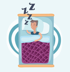 Man sleeping in bed under blanket, wearing pajamas, lying on side, top view cartoon vector illustration on white background. Top view of man sleeping on side in pajamas, lying in bed under blanket
