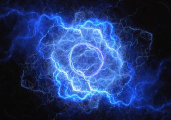 Blue plasma lightning cloud, electrical storm