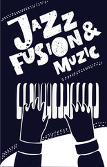 Live Jazz Calligraphy Illusion Logo Lettering with Piano Keys